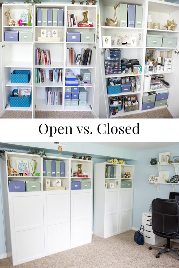 Organize your studio with closed bookcases verses open ones